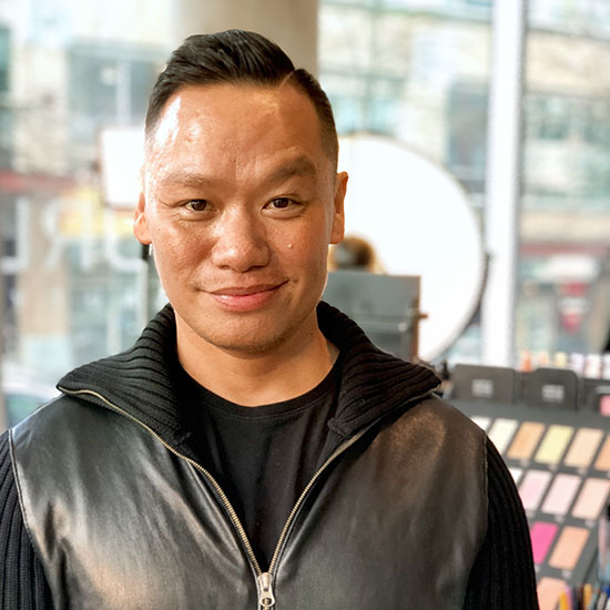 Experienced and caring Pro Makeup Artist Byron at the CurliQue store in Vancouver