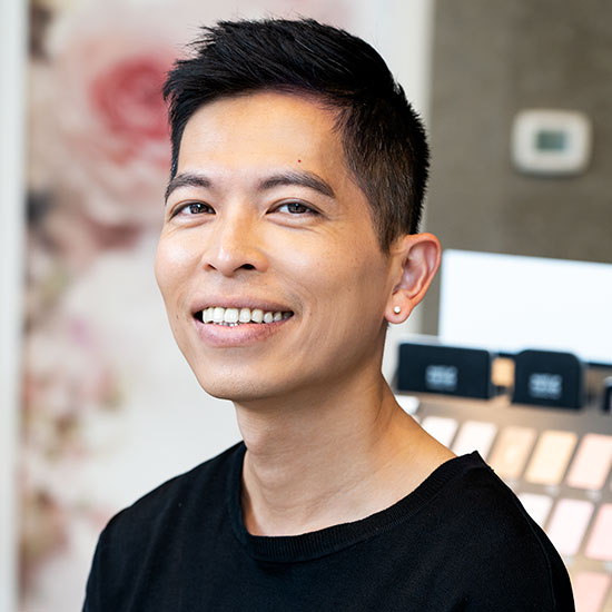 protriat of makeup artists Li-Wei in CurliQue store