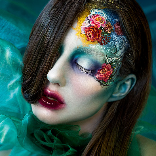 Mimi Choi Creates Amazing Dreamy Floral Makeup on a Beautiful Model